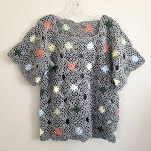 VTG Handmade Knitted Crochet Grey Floral Top